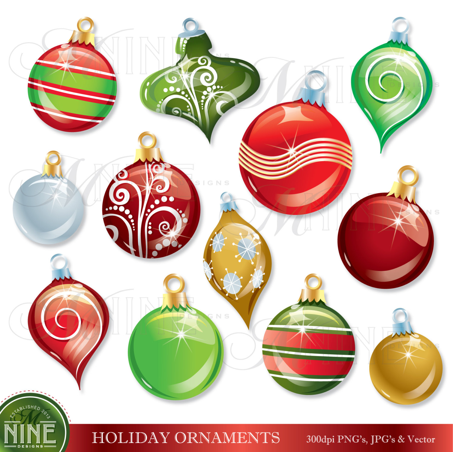 CHRISTMAS ORNAMENTS Clip Art: HOLIDAY Clipart, Instant Download, Ornament Vector Art Icons Graphics