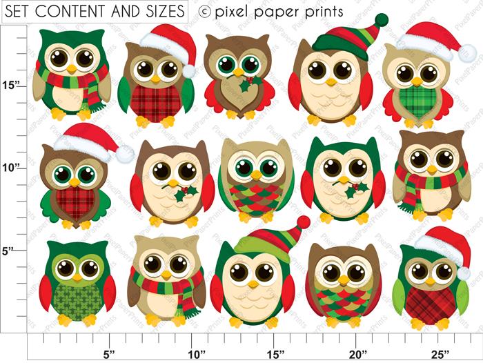 Christmas Owl Clip Art - .