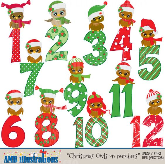 Christmas Owls and numbers -Cute Christmas Owls counting down the 12 days of Christmas.