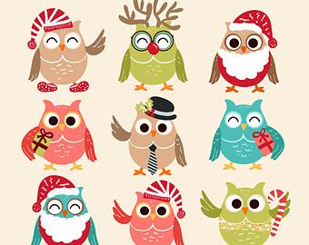 Christmas Owls Clip Art Owl Clipart Christmas Clipart Owl Clip