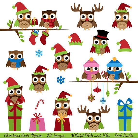Christmas Owls Clipart Clip Art, Winter Owls Clip Art Clipart with Santa, Reindeer -
