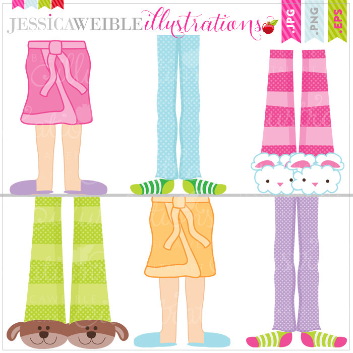 Christmas Pajama Party Clipart Pajama Fe-Christmas Pajama Party Clipart Pajama Feet Cute Digital-1