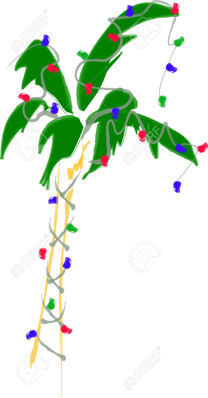 christmas palm tree: Holiday Palm Tree with Lights Illustration