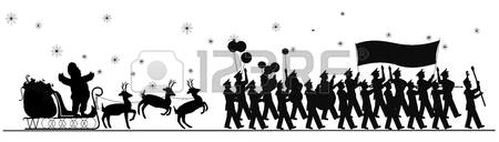 christmas parade: santa claus parade in silhouette