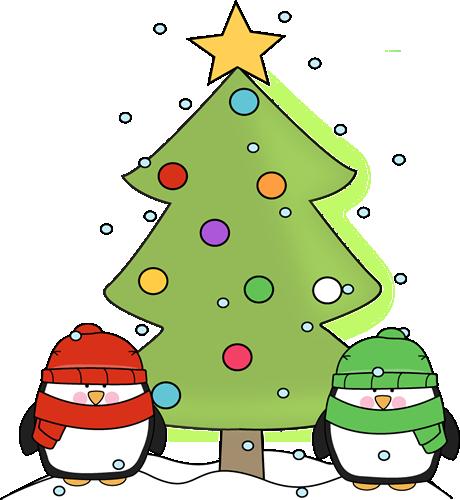 Christmas Penguins and Christmas Tree