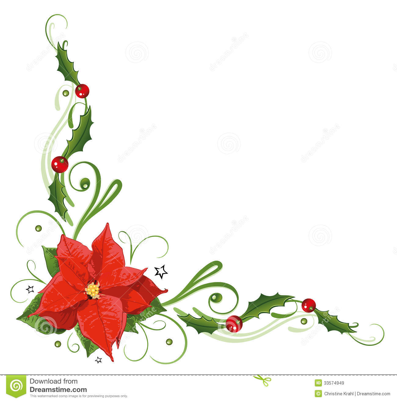 Christmas, poinsettia, holly Royalty Free Stock Images