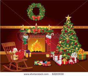 Christmas Scene Clip Art Image