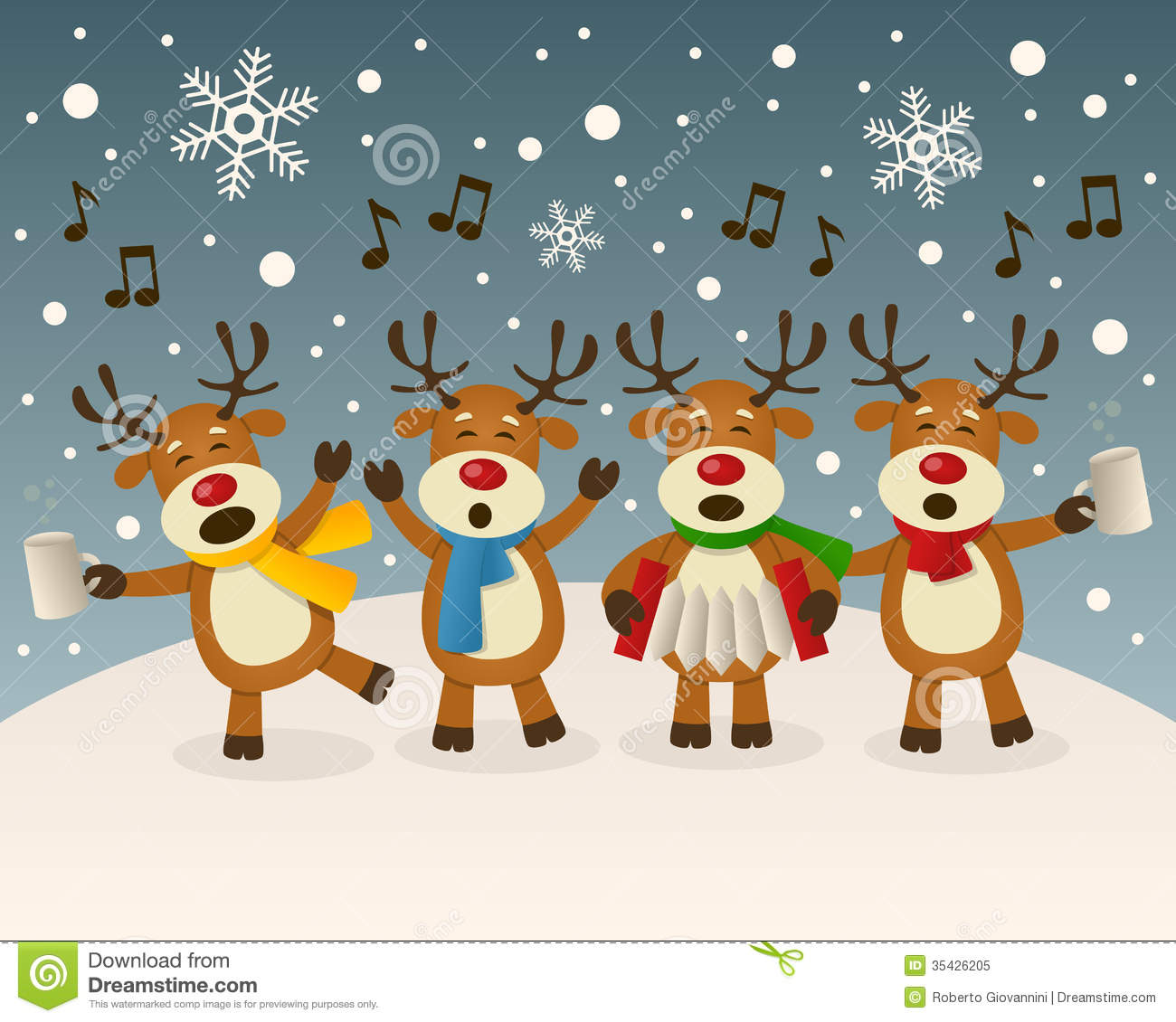 Christmas Scene Four Funny Characters Carols Snowy Scene Eps File