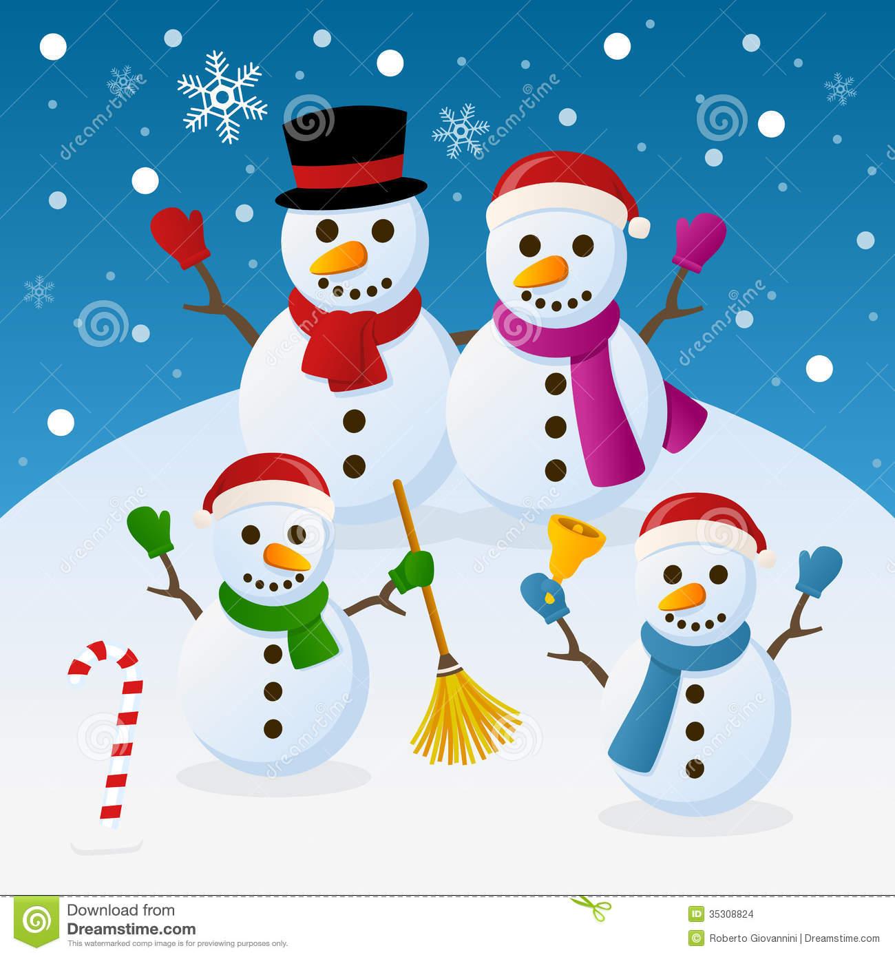 Christmas Snowmen Family Funny Cartoon Four Snowman Snowy Scene Eps