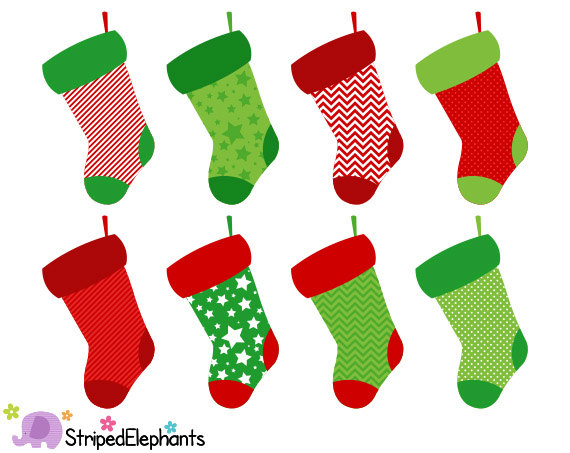 Christmas Stocking Clip Art - Digital Cl-Christmas Stocking Clip Art - Digital Clip Art - Instant Download - Commercial Use-1