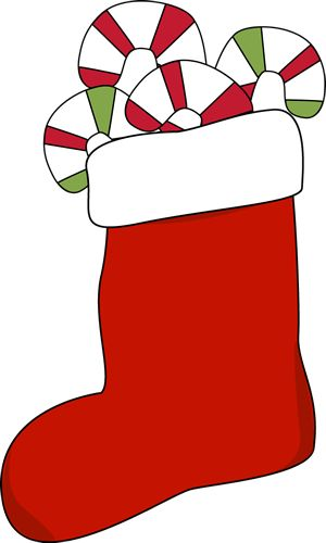 Christmas Stocking Filled with Candy Canes Clip Art
