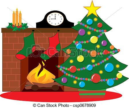 ... Christmas tree by a fireplace decorated with stockings