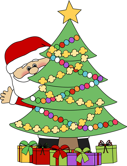 Christmas Tree Clip Art. Santa Behind a Christmas Tree