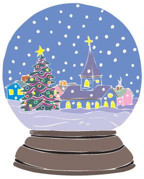 Christmas Tree Snow Globe Clip Art