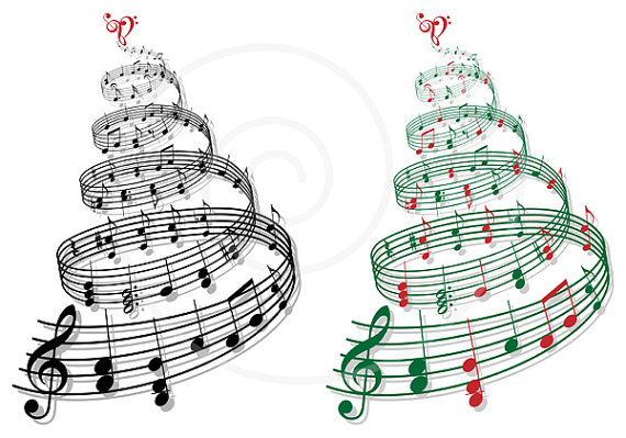 Christmas Tree With Music Notes Music Tree Xmas Card Digital Clip