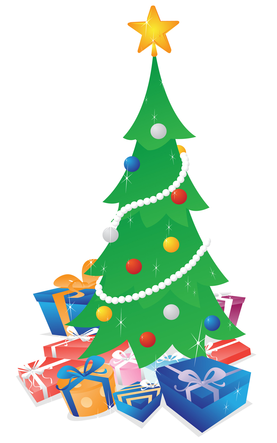 Christmas Tree With Presents Vector Illustration Of A Shimmering