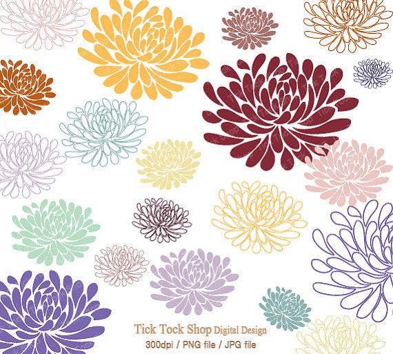 Chrysanthemum Carriers Clip Art. Items similar to Neutral Blooms chrysanthemum SET