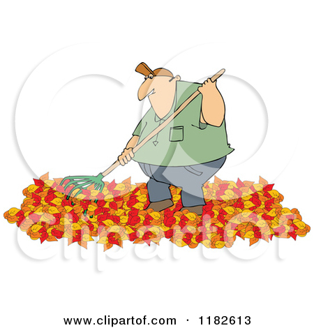 Chubby Caucasian Man Raking Autumn Leave-Chubby Caucasian Man Raking Autumn Leaves by Dennis Cox-4