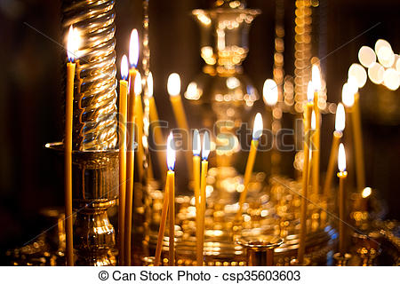 burning Church candles - csp35603603