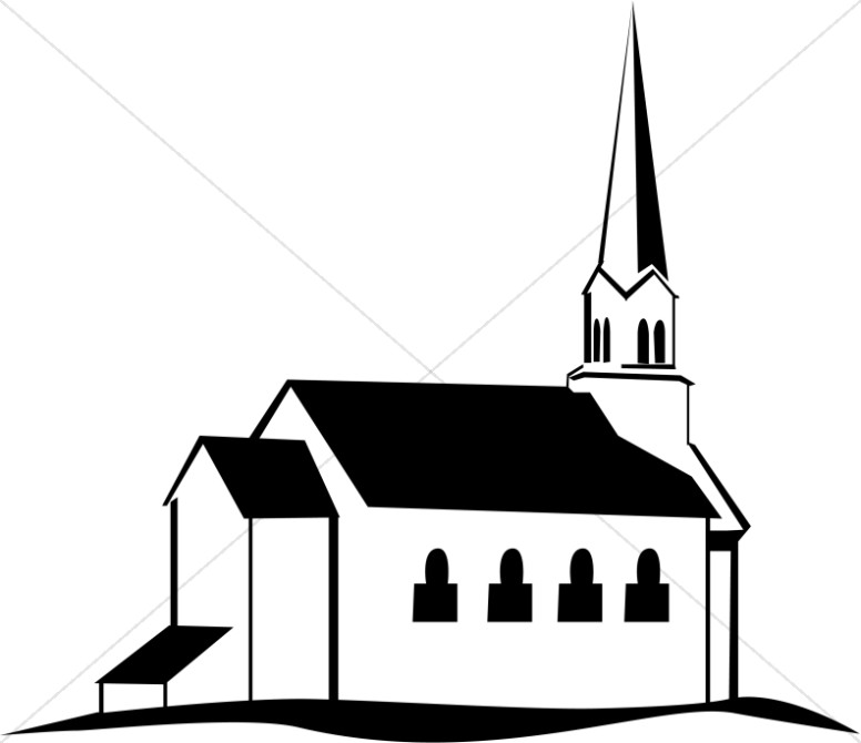 Black and White Church on a Hill