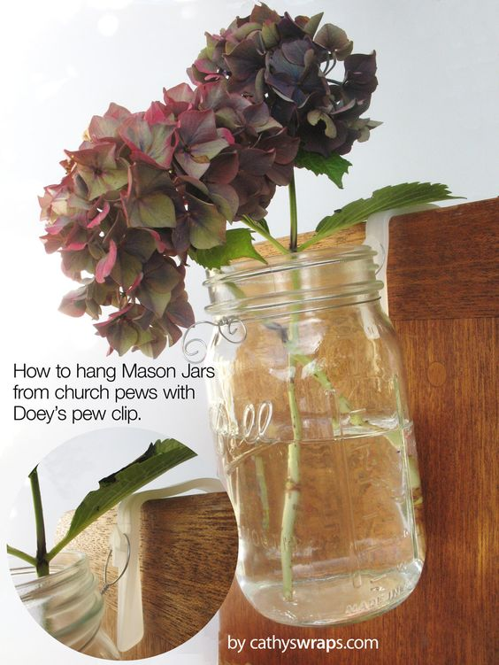 Church Pew Clips hang Mason Jars, Ribbons, Bows, Flowers - Wedding u0026amp; Aisle