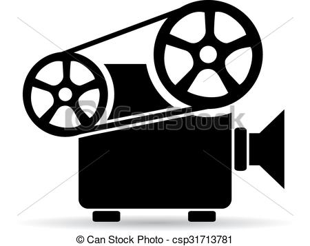 ... Cinema video projector icon - Old retro cinema video.