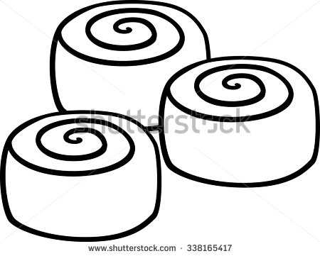Cinnamon roll clipart black and white - ClipartFest