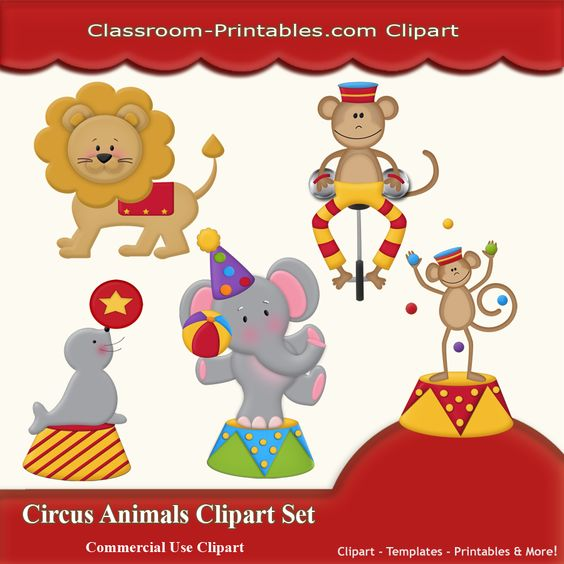 Circus Animals Clipart Set - $2.00 : Classroom-Printables, Store