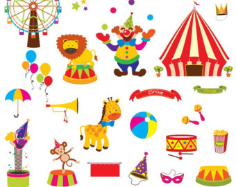 Circus Clip Art - Carnival Clip Art - Digital Clipart Set Instant Download - EPS and