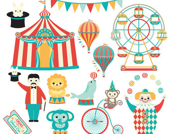 Circus Clip Art - Carnival clipart - clown, lion, elephant, monkey, seal,circus tent, big top, carnival party, hot air balloon, ferris wheel