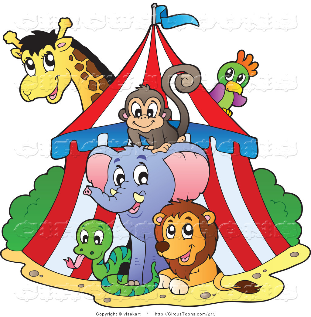 Circus Clipart of a Big Top Circus Tent and Wild Animals