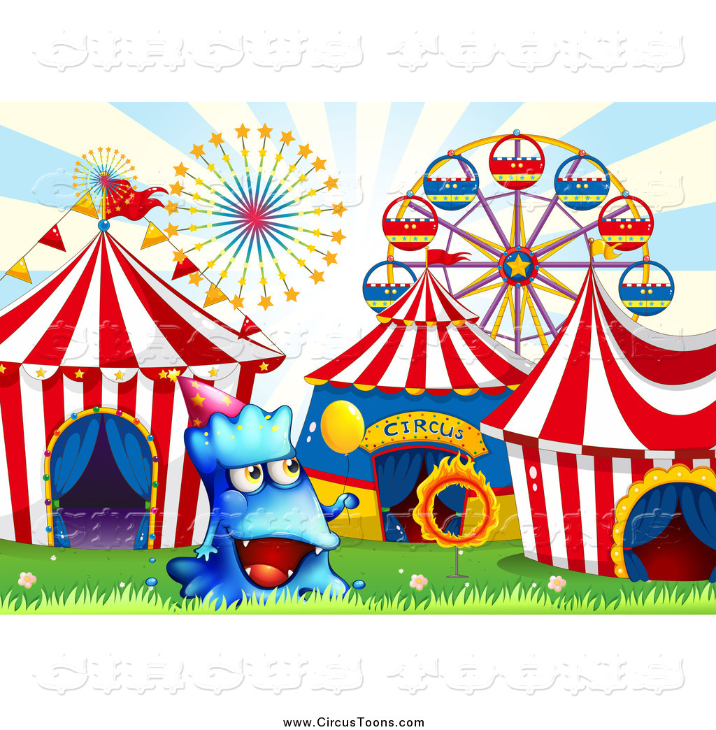 Circus clipart of a blue monster at a ca-Circus clipart of a blue monster at a carnival by colematt 3-14