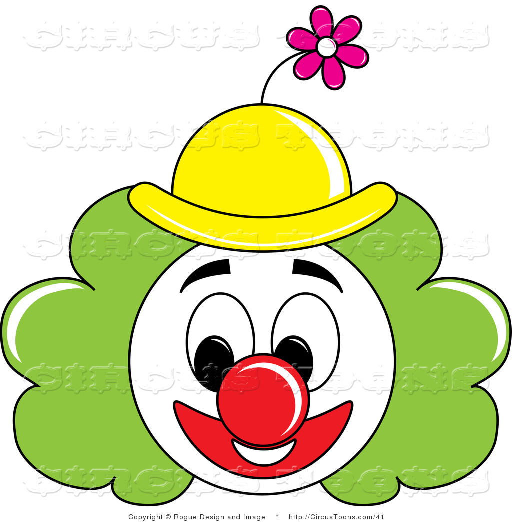 Circus Clipart Of A Grinning Painted Clown Face With Green Hair And A