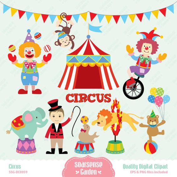 Circus Digital Clipart, Carnival Clip Art, Animal Circus Clip Art