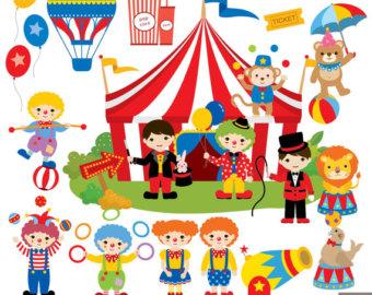 Circus Digital Clipart, Circus Clipart, Carnival Clipart, Clown clipart