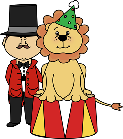 Circus Lion and Ringmaster Clip Art