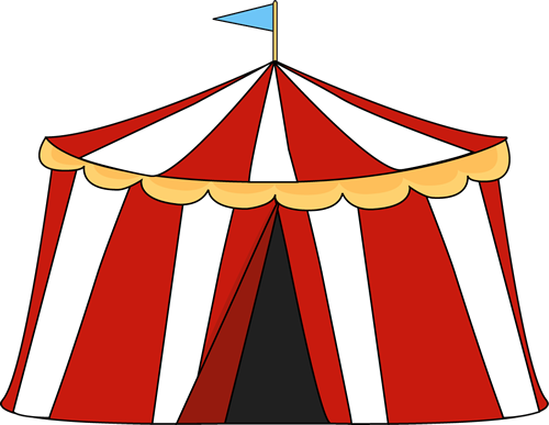 Circus Tent Clip Art Image - Red And Whi-Circus Tent Clip Art Image - red and white striped circus tent with a blue flag on the top of the tent.-8