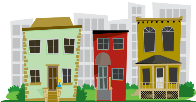 City Neighborhood Houses Clip Art