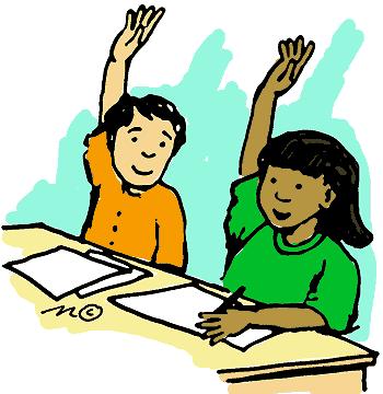 Class Rules; boy raising hand .