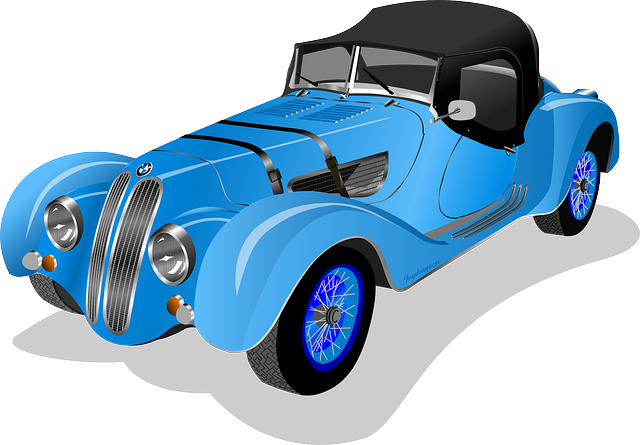 This nicely done blue vintage roadster clip art is in the public domain so  use it freely on your personal or commercial projects.