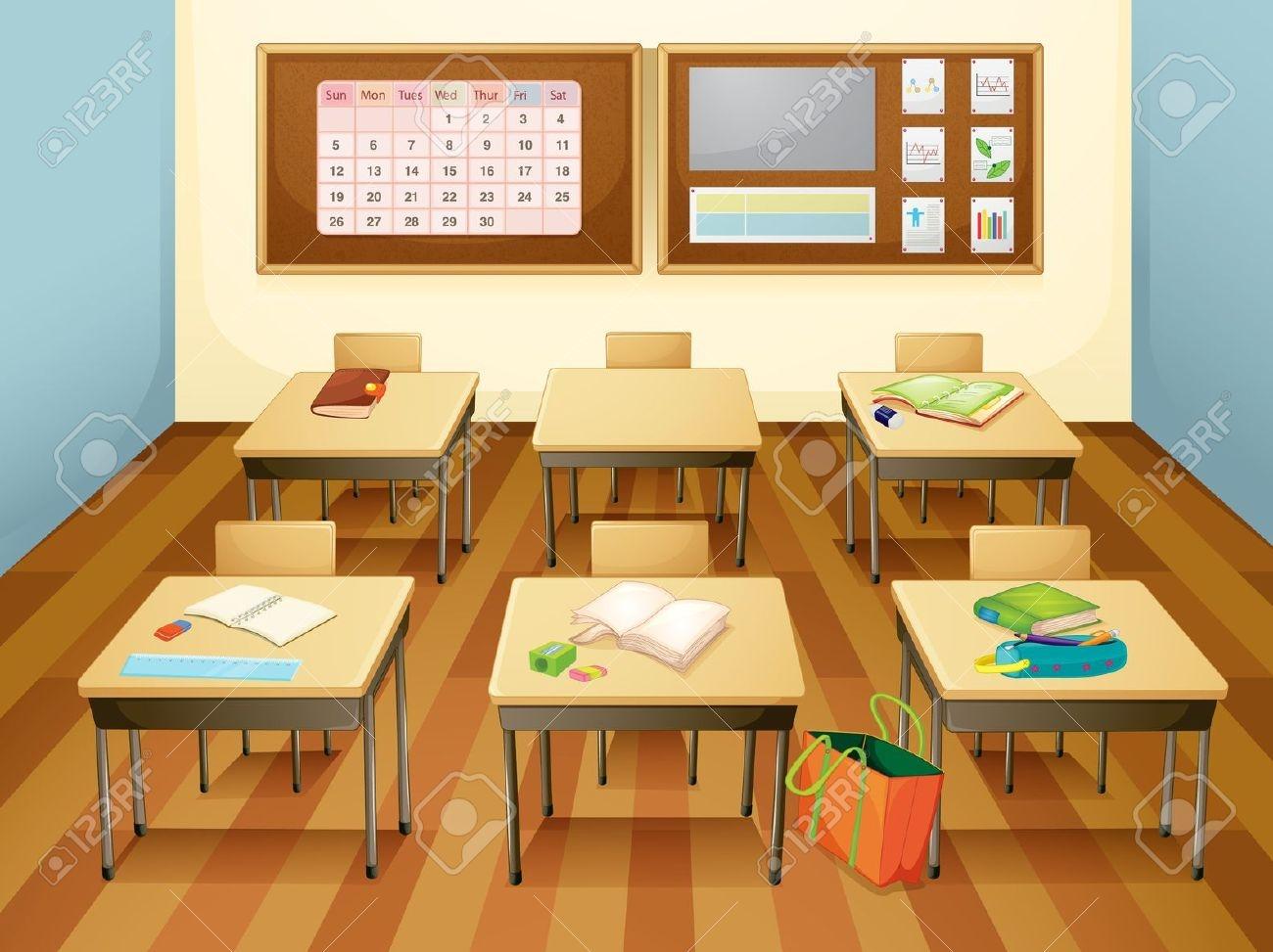 Classroom Clipart clip art. empty classroom: Illustration .