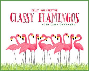 Classy Flamingo Lawn Ornament Clip Art - Blog Graphics - Instant Download