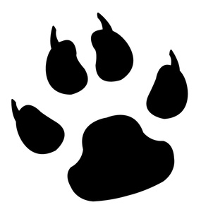Clawed Paw Print Clipart Image Black And White Clawed Paw Print