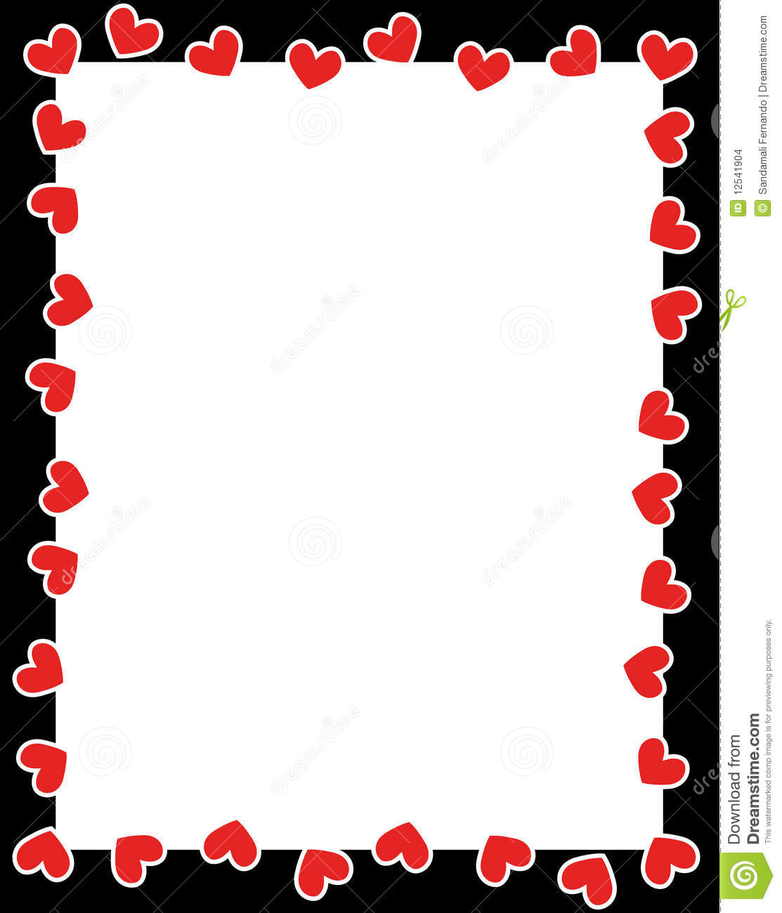 Clean Valentine S Day Holiday Love Border With Red Hearts For