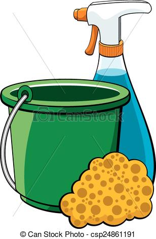 ... Cleaning Supplies - Vector illustration of a collection of.