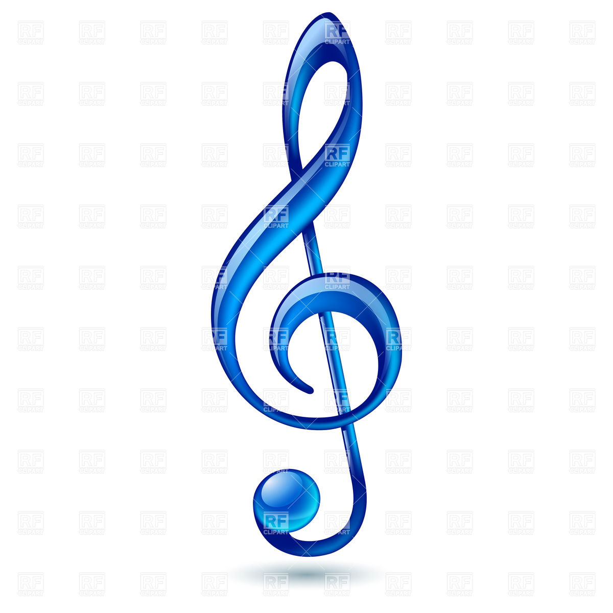 Shiny blue treble clef on white background Royalty Free Vector Clip Art