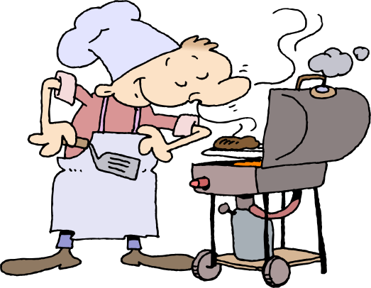 Click for larger hilarious Barbecue Guy free Labor Day Weekend celebration BBQ clip art .