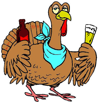 Click Hilarious Thanksgiving Day Turkey drinking beer for a larger funny free Thanksgiving Day Turkey Drinking