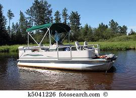 Clip Art. A Big Pontoon Boat Anchored In-Clip Art. A big pontoon boat anchored in the river-2