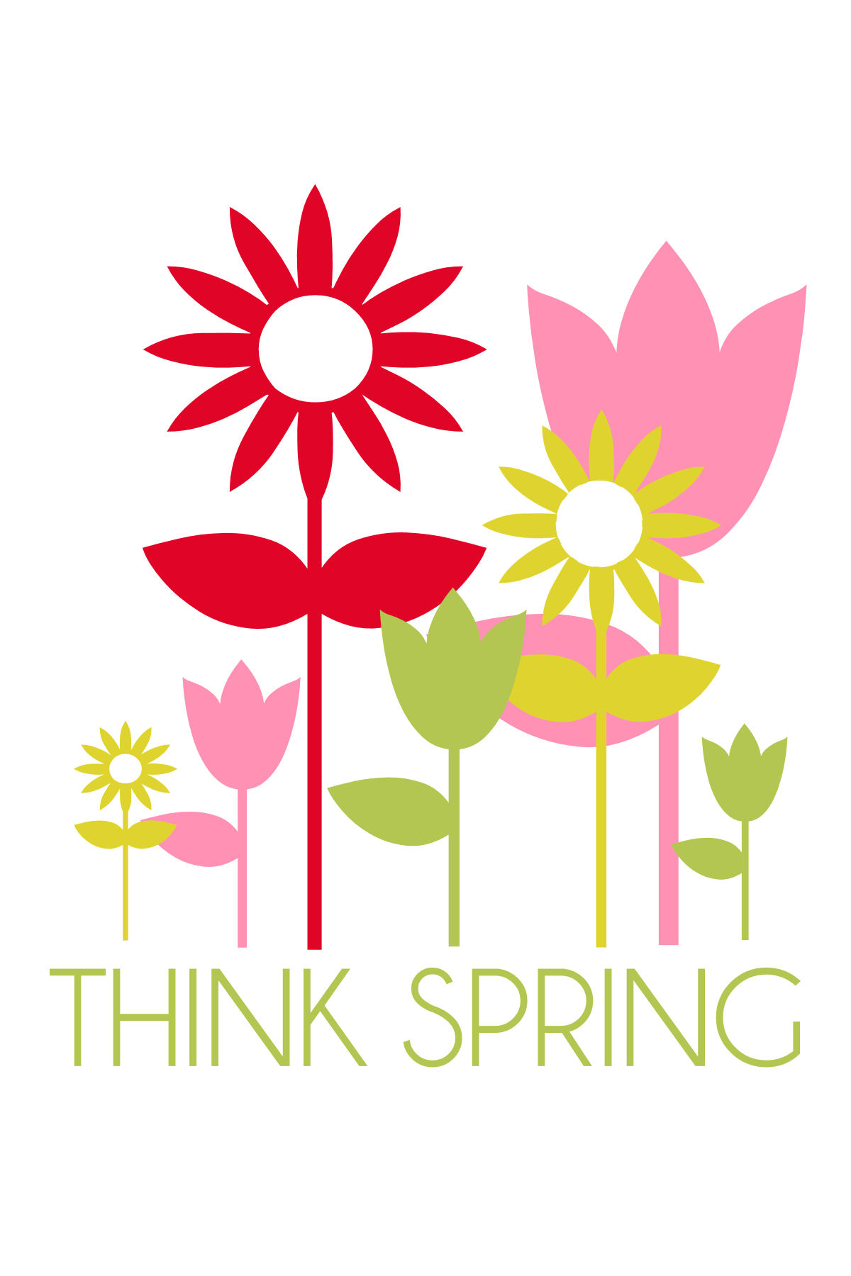 ... clip art art design and craft; think spring print 2 think spring free print on lilluna com put in a frame ...